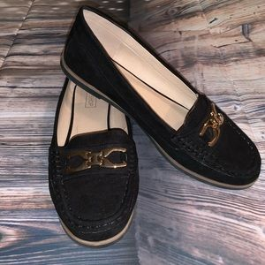 TopShop black and gold loafers shoes